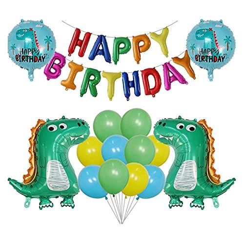 JSJJATF Globos 1 Set Dibujos Animados Dinosaurio Foil Balloons Set 30 Pulgadas Número Globo Jungle World Dino Kids Feliz Cumpleaños Fiesta Decoración (Color : Set B)