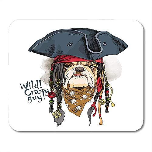 Muis pads hond portret van Bulldog in piraat hoed Bandana Dreadlocks zeeman militaire muismat