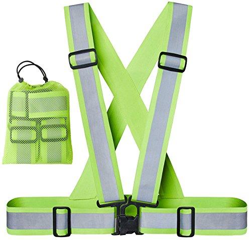 Xcelenze – Premium Warnweste Fahrrad extra breit mit doppelter Reflektor Fläche | Warnweste Kinder leicht verstellbar von 1. Klasse bis Erwachsenem XXL Elastisch + Tasche