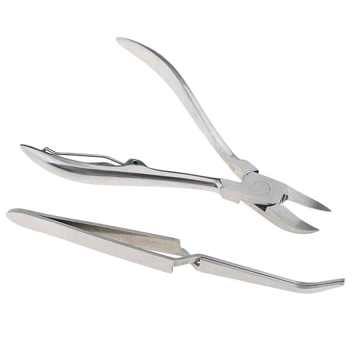 ホバー貨物針Perfk 2点セット 高品質 キューティクルニッパー ネイルツイーザー ネイルアート 多機能 ステンレス
