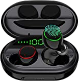 Wireless Earbuds Bluetooth 5.0 with USB Charging Case IPX8 Waterproof HiFi Stereo Noise Cancelling Headphones in Ear Built in Mic Headset 120H Playtime for Sport Black