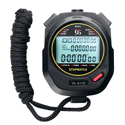 Ahomi digitaal stopwatch chronograaf Sports Timer stopwatch (zwart / 100 traps)