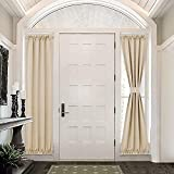 PONY DANCE Sidelight Door Curtain - 25 x 72 inch, Biscotti Beige, 1 Pair Light Filtering Panels Privacy Protective French Door Curtains Entry Way Living Room Decoration