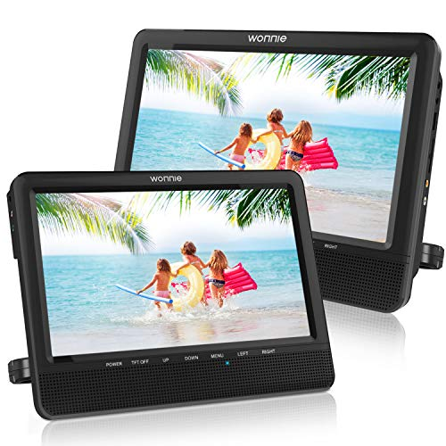WONNIE 10'' Car Dual Portable DVD Players, 1024x800 HD LCD TFT, USB/SD/MMC Card Readers, Built-in 5 Hours Rechargeable Battery, Stereo Sound, Regions Free, AV Out & in