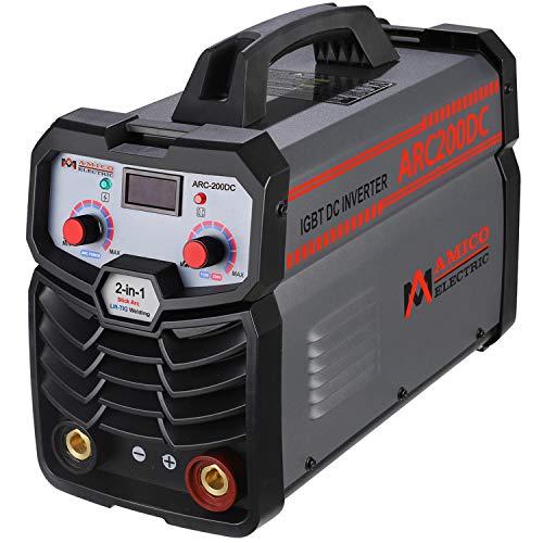 Amico Professional Welding Machine, 200 Amp Stick Arc DC Welder, 80% Duty Cycle, 100~250V Wide Voltage