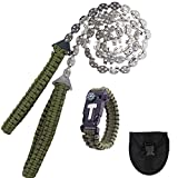 Pocket Chainsaw 36 Inch 23 Sharp Teeth Long Hand Saw Chain with Fire Starter Survival Bracelet Portable Compact Saws Tool for Camping,Trees Wood Cutting,Hunting
