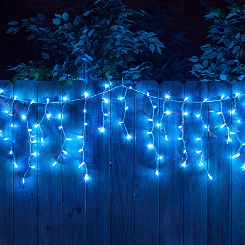 YOLIGHT 13ft 96 LEDs Icicle Curtain String Drop Lights, Indoor Outdoor Decoration for Christmas Festival Wedding Party Patio Garden (Blue)