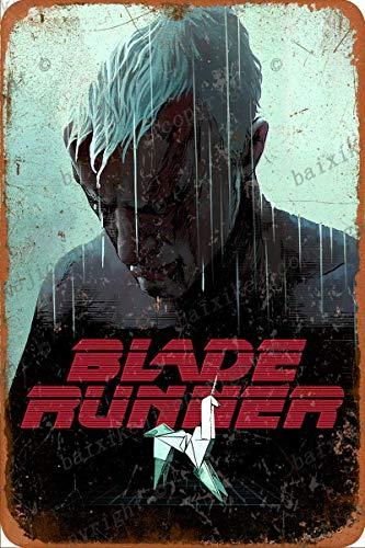 Blade Runner Poster Cartel Retro de hojalata, Cartel Vintage, Placa, decoración de Pared para Bar, cafetería, jardín, Dormitorio, Oficina, Hotel, 20X30 cm