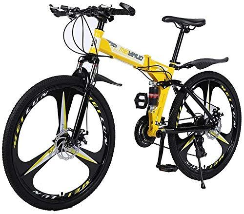 Bicicleta de montaña plegable para ciudad, hombre, mujer, niño, talla única, apta para todos los sistemas plegables, semáforo, totalmente montada, 27 velocidades de 24 velocidades.
