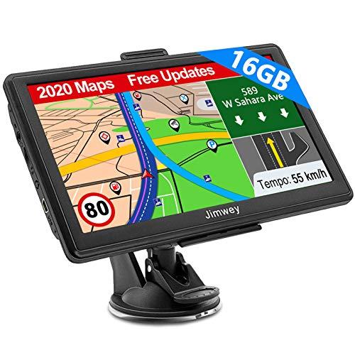 SAT NAV, Jimwey 16GB GPS Navigation System with 2020 UK/EU Maps, 7 Inch Satellite Navigator for Car...