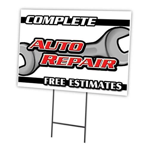 "Complete AUTO Repair Free ESTIMATES 18""x24"" Yard Sign & Stake 