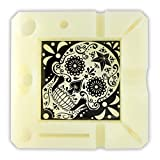 Novelty Inc. Glow-in-The-Dark Silicone Ashtray, Heat Resistant, Unbreakable - Black and White Sugar Skull