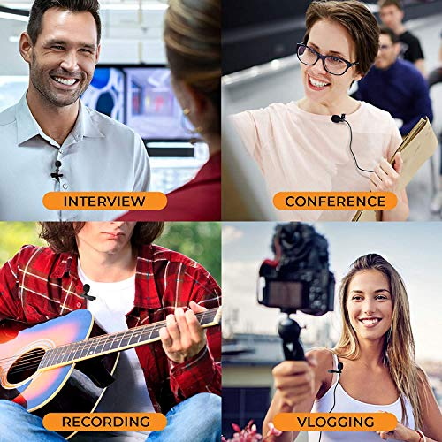 HB Plus - Collar Clip Microphone Omnidirectional Mic with Easy Clip On System Perfect for Recording YouTube/Interview/Video Conference/Podcast/iPhone/Android