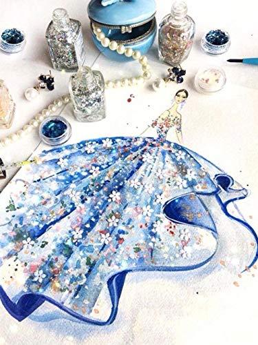 nanxiotian 5D-diamantschilderij om zelf te maken met diamanten, vierkant, blauw, voor bruidsjurk, 47 x 57 cm, borduurwerk, strass, kruissteek, decoratieset, wanddecoratie