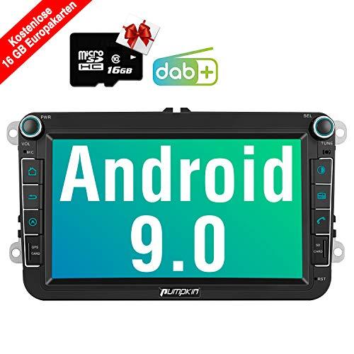 PUMPKIN Android 9.0 Autoradio für VW Radio mit Navi 16GB Europakarten/Integriertes DAB + Modul Unterstützt Bluetooth USB WiFi 4G MicroSD 8 Zoll Bildschirm
