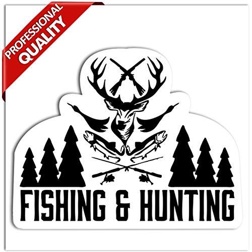 SkinoEu® 1 x Vinyl Aufkleber Autoaufkleber Jäger Fishing Hunting Hobby Jagd Angeln Sticker Auto Moto Motorrad Fahrrad Fenster Tür Tuning B 116