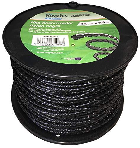 Riegolux 107677 Hilo Desbrozadora Nylon Helicoidal, Negro, 3.3 mm x 100 m