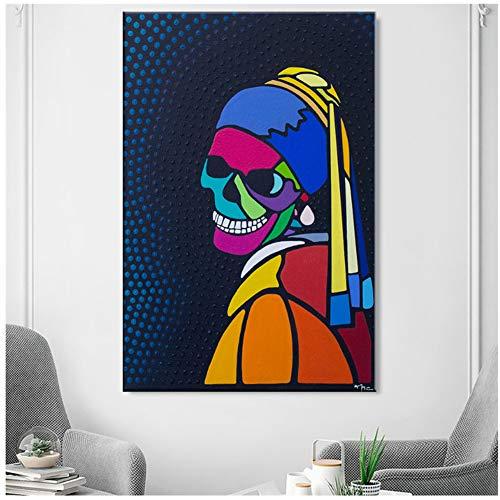 yhyxll Frau Perle Ohrring Graffiti Leinwand Malerei Poster Drucke Leinwand Malerei Wandbilder für Wohnzimmer Home Decor-20X30 In No Frame