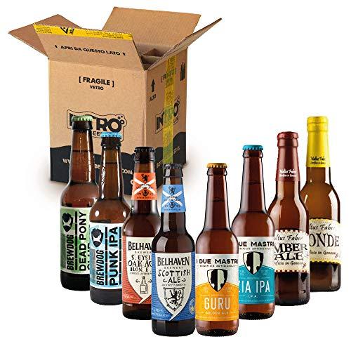 INTRO BEER CLUB Box Degustazione Birre Artigianali - Selezione di Birre dal Mondo'Scozia vs Italia' - Kit con 8 Bottiglie da 33cl - Confezione Idea Regalo Uomo