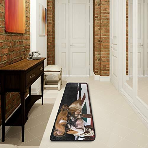 Mnsruu Teppich, Motiv: Englische Bulldogge, Welpe, britische Flagge, für Wohnzimmer, Schlafzimmer, Küche, 61 cm x 182,88 cm