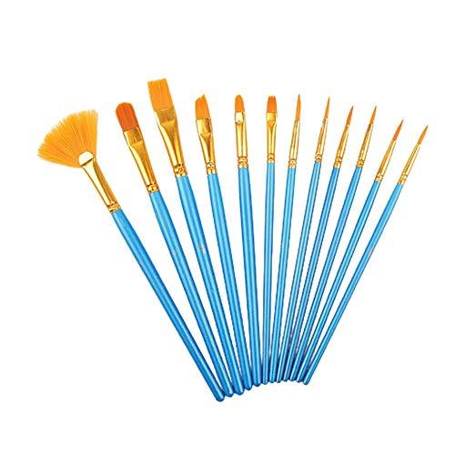 #N/D 12 unids perla azul varilla pintura acuarela conjunto nylon lana ventilador aceite pincel DIY acrílico pintura cepillo
