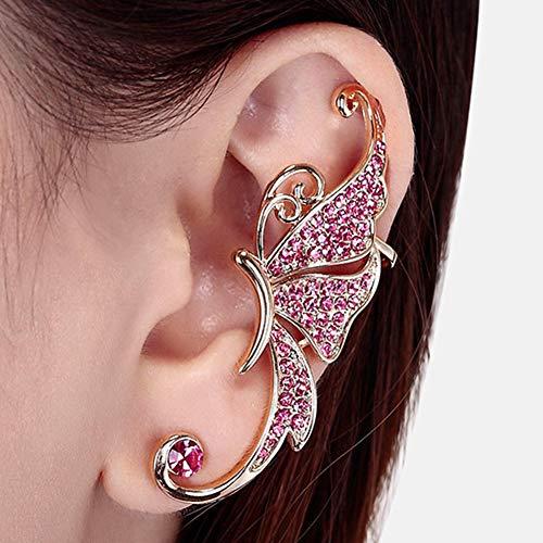 Cestbon Einzigartig Schmetterling Damen Ohrklemme 925 Sterling Silber Zirkonia Ohrringe Ohrstecker Ear Cuff Ohrschmuck,Lila