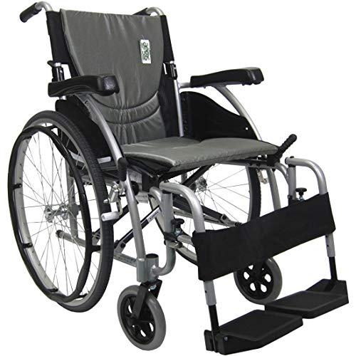 Karman Healthcare S-Ergo 115 20' Seat Width, Ultra Lightweight Ergonomic Wheelchair, Fixed Wheels - 25 lbs in Pearl Silver