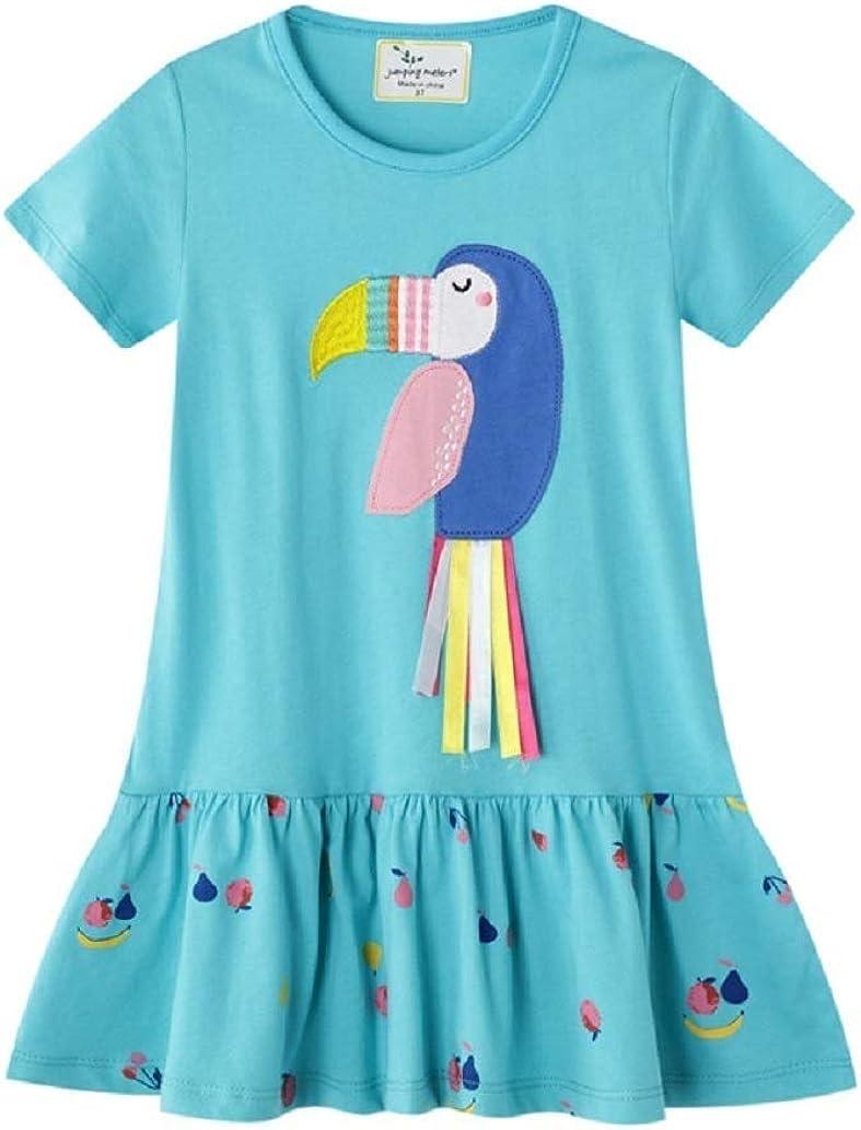 Little Girls Bird Dress Kids Toucan Summer Casual Short Sleeve Cute Cartoon Appliques T-Shirt Dress Outfit 2-7 Years