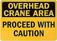 ヤード屋外警告フェンス看板オーバーヘッドクレーンエリア続行注意ZC1725ヴィンテージ金属ティンサインポスターホームプラークポスター壁アートパブバー装飾