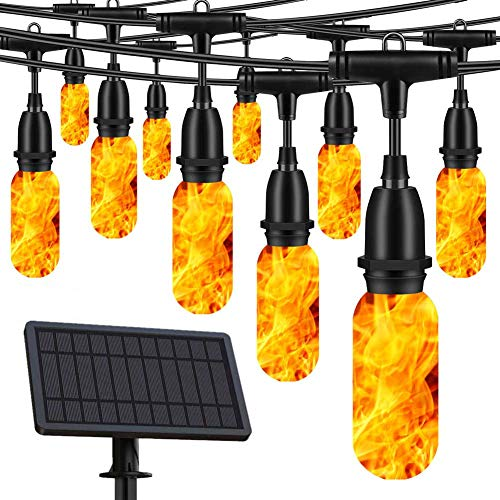 OKEER Solar String Lights Outdoor Flickering Flame Lights Pergola LED Lights 35 FT Hanging Lights Upgrade Solar Panel with USB Charger, Decor for Party, Coffee-Shop, Patio, Backyard, Garden (10 Bulbs)
