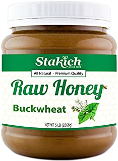Stakich BUCKWHEAT Antioxidant RAW HONEY - 100% Pure, Unprocessed, Unheated, KOSHER - 5 LB (80 oz)