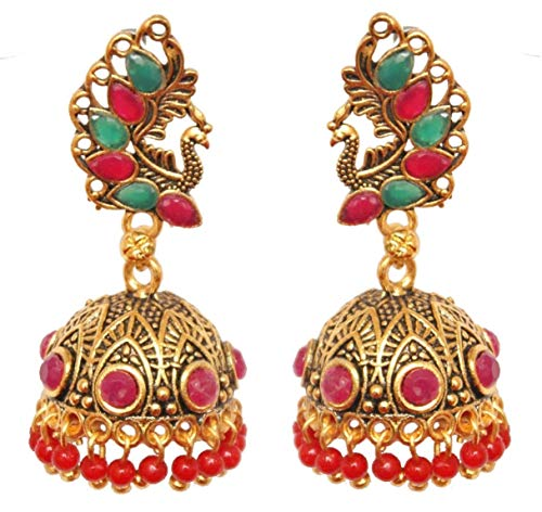 Pahal Traditional Red Green Pearl Kundan Big Gold Jhumka Earrings Peacock Design South Indian Wedding Jewelry Set for Women