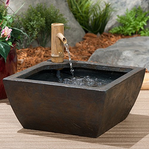 Aquascape 78197 Aquatic Patio Pond Water Garden with Bamboo Fountain, 16 Inch, Gray Slate