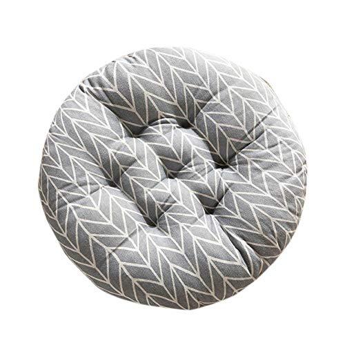 Doitsa. 1 Stück Grau Pfeil Sitzkissen Rund Stuhlkissen Weich Baumwolle und Leinen für Stuhl Sofa Bett für Zuhause Garten oder Café 40x40cm