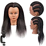 Mannequin Head 100% Real Hair Styling Training Head Hairdresser Cosmetology Mannequin Manikin Training Dolls Head for Practice Hairstyle Manikin Training Head Hair and Free Clamp Holder