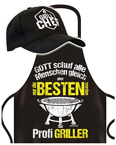 Schürze mit Cap - Nur die Besten werden Profi Griller- Grillschürze mit Basket-Kappe - Lustiger Spruch - Grill Set für die nächste Gartenparty