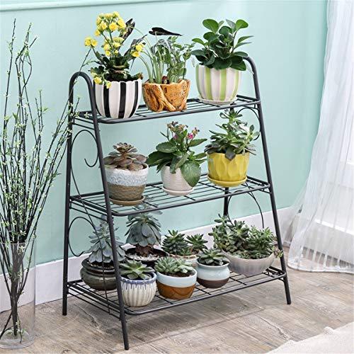 XKMY Soporte para plantas de hierro de 3 capas de soporte para plantas suculentas estante estante balcón simple interior jardín maceta estante zapatos estante libro estante decoración del hogar