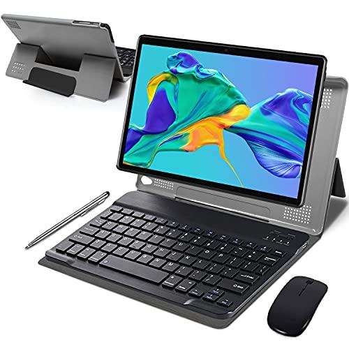Tablet 10 Pulgadas 4GB de RAM 64GB de ROM Android 10 Certificado por Google GMS Tablet PC Baratas y Buenas Batería 8000mAh Quad Core 4G Dual SIM 8MP Cámara Netflix WiFi Bluetooth GPS OTG(Negro)