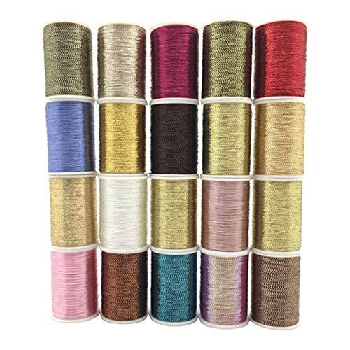 YEQIN 20 Piece Per roll 20 yards Metallic Glitter Polyester Embroidery Thread Sewing Thread Set