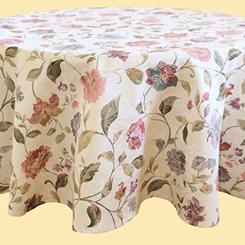 Kamaca Serie Beautiful Flowers in Creme mit zarten Pastelltönen Markenqualität hoher Baumwolle Anteil (Tischdecke rund 150 cm)