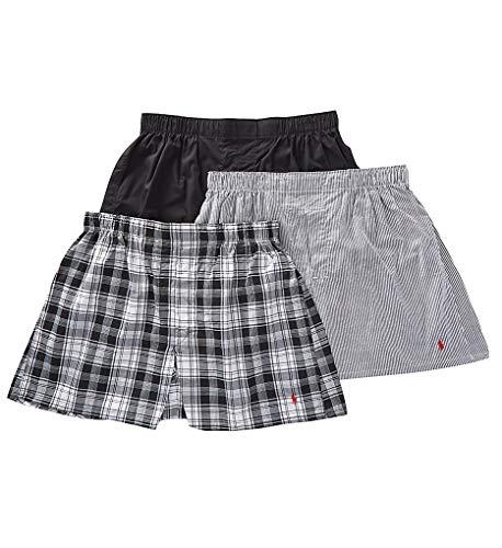Polo Ralph Lauren Classic Fit 3 Packaged Woven Boxers Bengal Stripe/Stockton Plaid/Polo Black 2XL