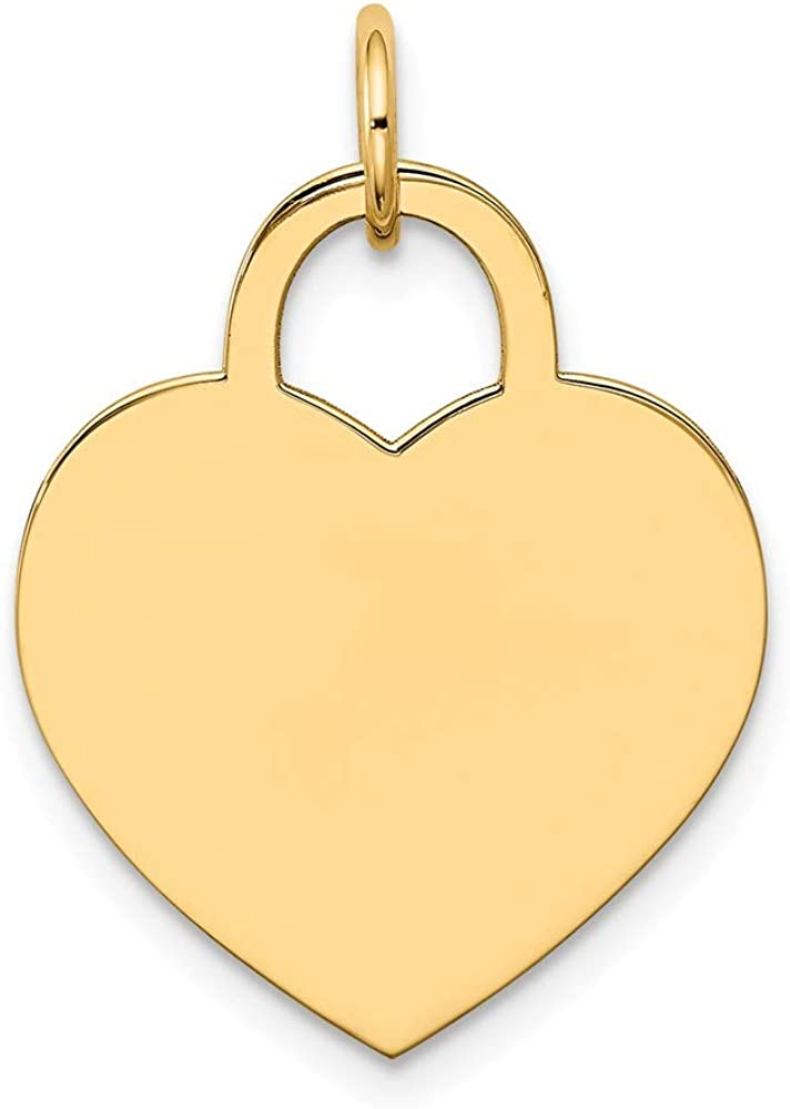 Solid 14k Yellow Gold Large Engravable Heart Charm Pendant - 25mm x 18mm