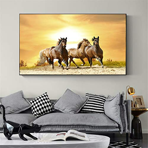 Geiqianjiumai Arte Animal Caballo Corriendo Amanecer Pintura al óleo Lienzo Arte Imagen Sala Arte Moderno Pared Cartel sin Marco Pintura 30X45 cm