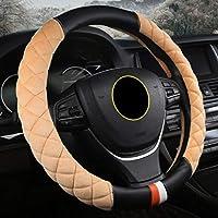 すべての車のスタイリングのための冬の毛皮の自動車アクセサリーの短い豪華な革の車のハンドルカバー加熱されたケースユニバーサル15インチ
