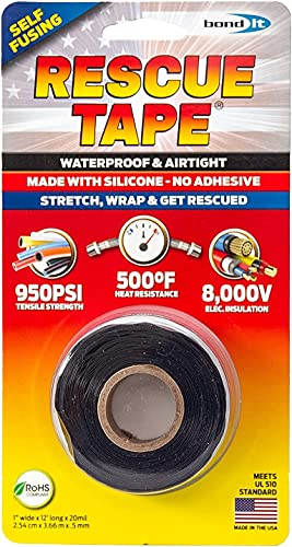 Self-Fusing Silicone Tape, Emergency Pipe and Plumbing Repair, 1-Inch X 12-Feet, Silicone Rubber (Black)