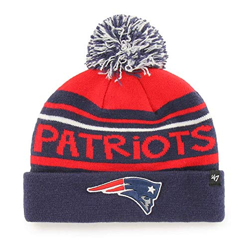 '47 Youth Size New England Patriots Blue Cuff Playground Beanie Hat with Pom - NFL Kid's Cuffed Winter Knit Toque Cap