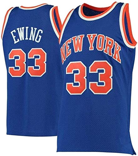 CCET NBA Trikots No.33 Ewing Knick Herren-Basketball-Jersey-Stickerei-Trainingsanzug T-Shirt Double-Layer-Breathable Athlet Jersey (Color : Blue, Size : XL)
