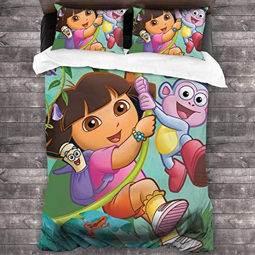 Dora The Explorer - Juego de colcha de 3 piezas, juego de cama de 218 x 177 cm, funda de almohada de 50,8 x 76,2 cm