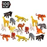 100 Piece Party Pack Mini Wild Jungle Animals - Plastic Mini Educational Jungle Animal Toys - Fun Gift Party