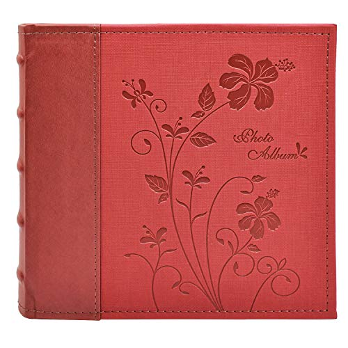 Golden State Art, Wedding Family Baby Holiday Photo Album Christmas, Vacation, Anniversary Photography book for 200 4x6 Pictures Pockets with Memo, 2 Per Page Large Capacity Maroon Scroll Embossed Faux Leather